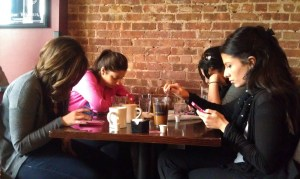 girls on their phone